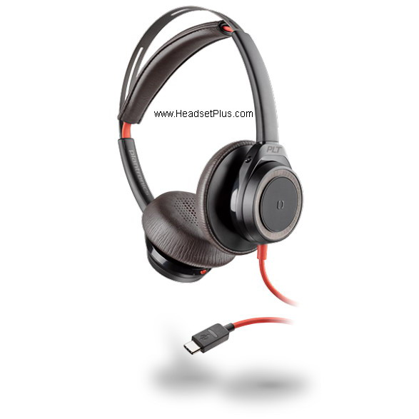 Plantronics Blackwire 7225 USB-C Stereo Corded Headset, Black