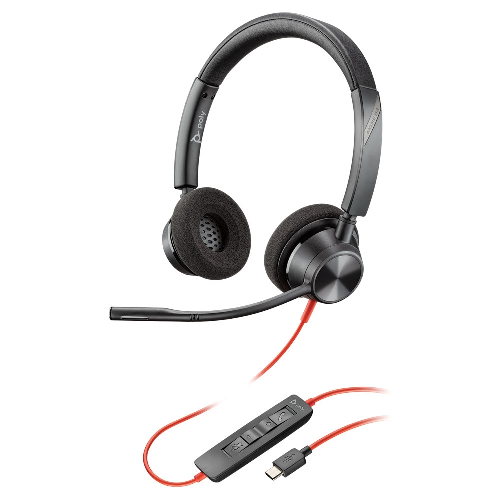Poly 3320-M Blackwire USB-C Stereo Headset, Microsoft Teams Cert