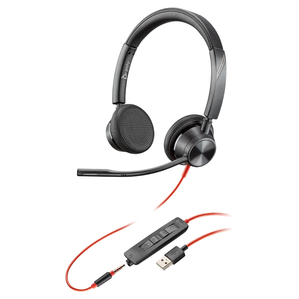 Poly 3325 Blackwire USB-A Stereo Headset w/3.5mm Jack, MS Teams