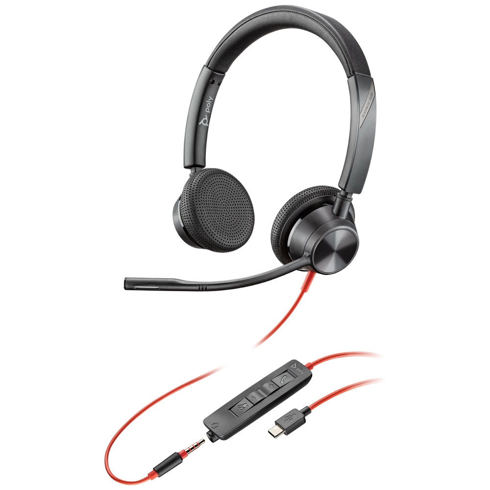 Poly 3325 Blackwire USB-C Stereo Headset w/3.5mm, MS Teams Cert