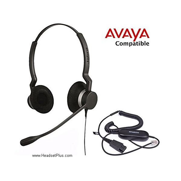 Jabra Biz 2300 Duo Avaya 1600 9600 Certified Headset Bundle