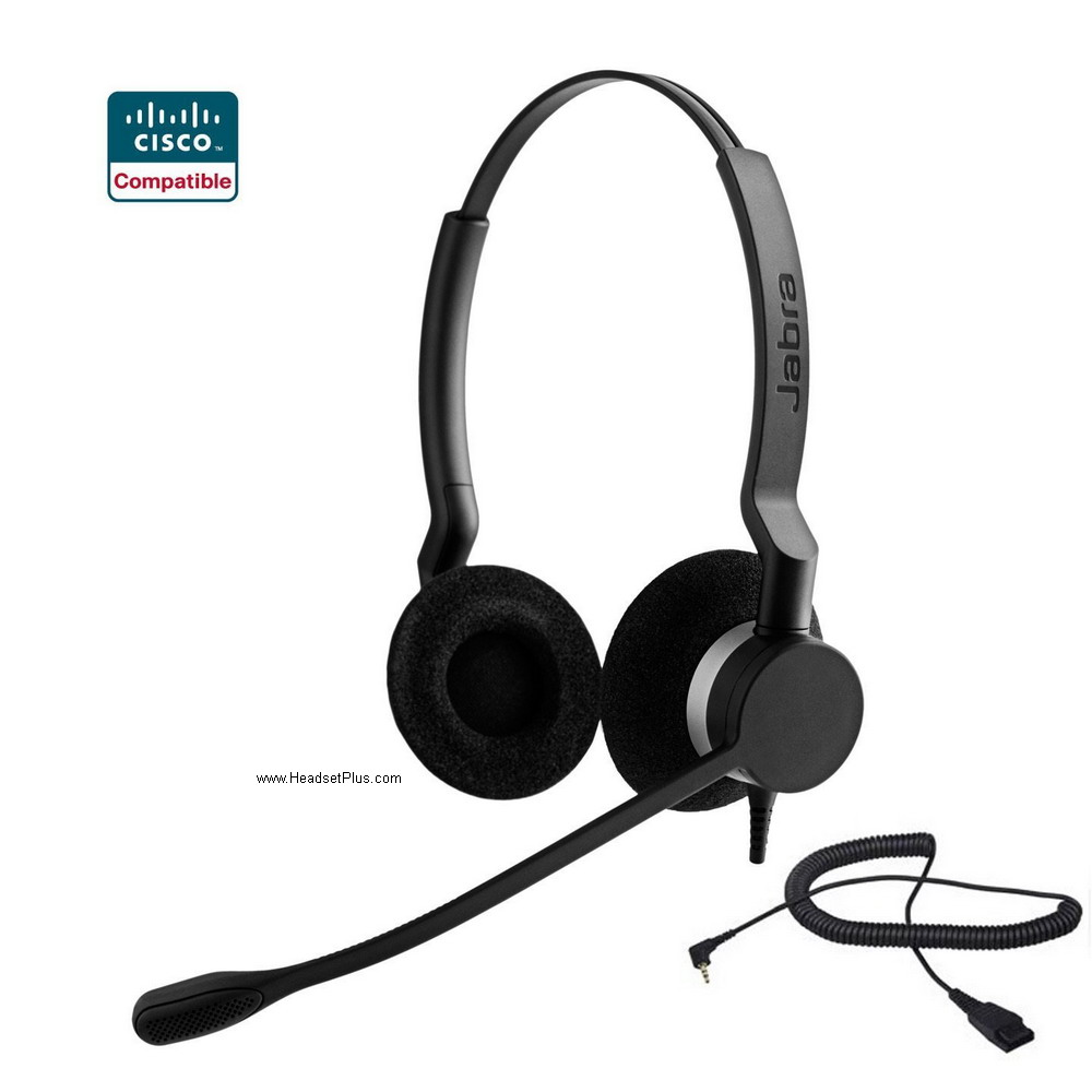 Jabra Biz 2300 Duo Cisco SPA 303 5xx 9xx Certified 2.5mm Headset