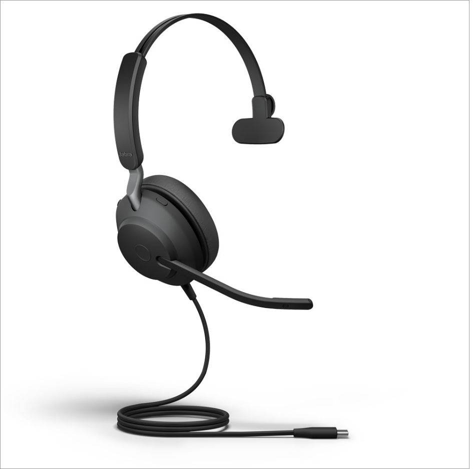 Jabra Evolve2 40 MS Mono USB-C Corded Headset, MS Teams