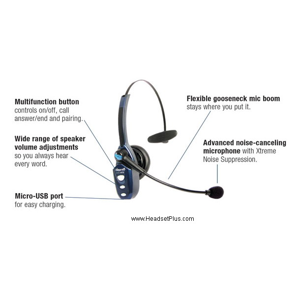 18fb236582b VXI BlueParrott B250-XTS Bluetooth Headset for Cell Phone 203890