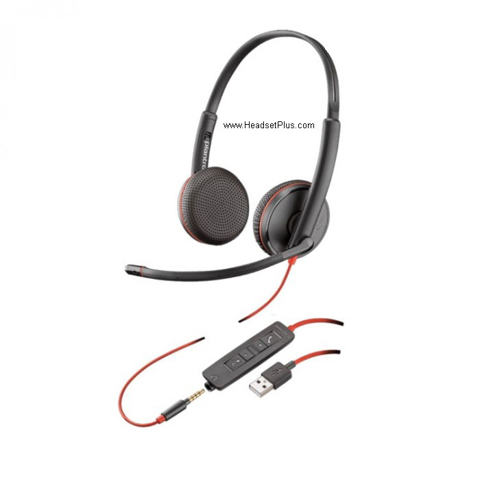 Plantronics C3225 Blackwire Stereo USB Headset + 3.5mm MS Skype