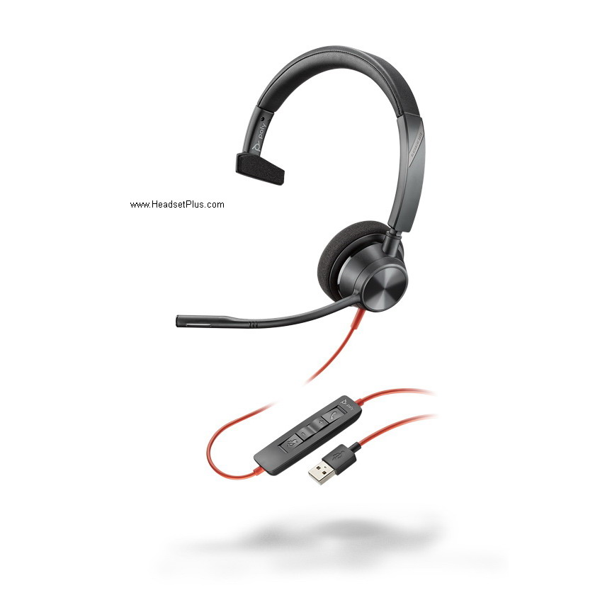 Poly 3310 Blackwire USB-A Mono Headset, MS Teams Certified