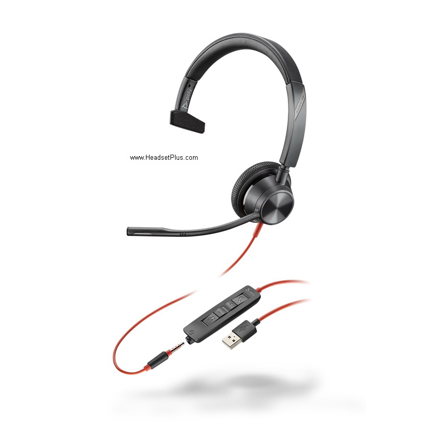 Poly 3315 Blackwire USB-A + 3.5mm Mono Headset, MS Teams