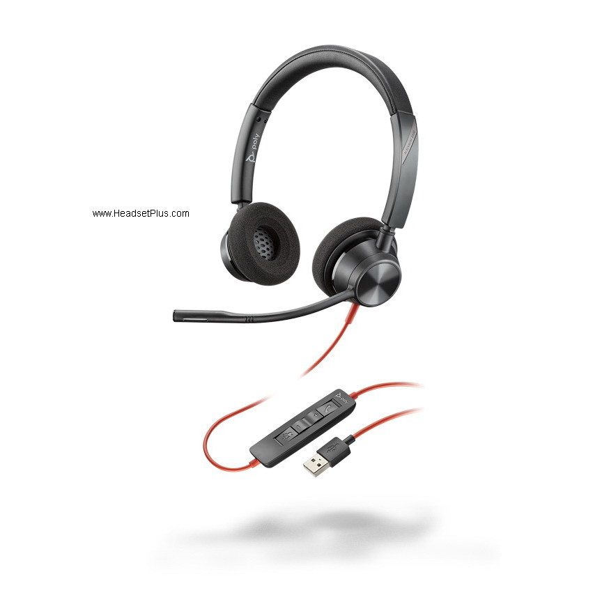 Poly 3320-M Blackwire USB-A Stereo Headset, Microsoft Teams