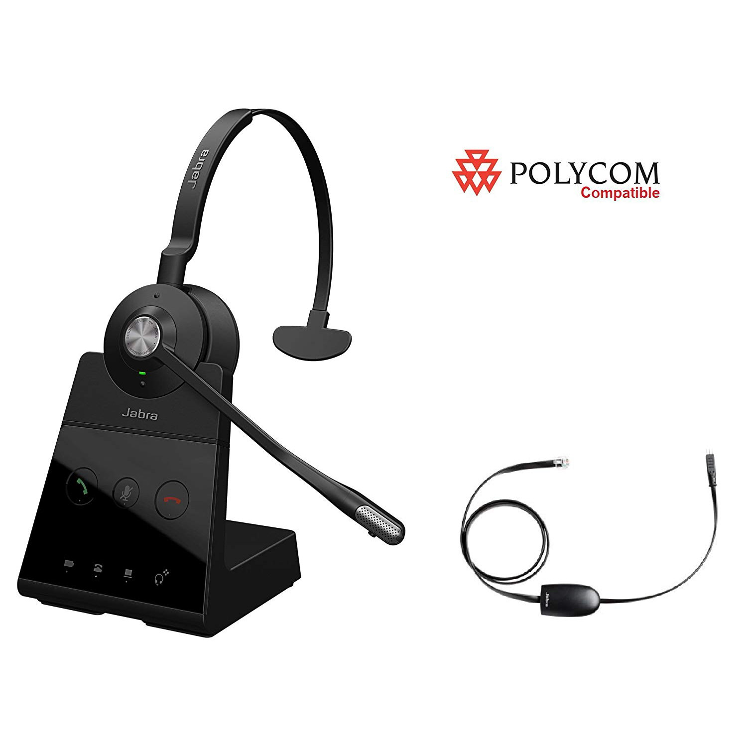 Jabra Engage 65 Mono+EHS Polycom Phone Wireless Headset Bundle