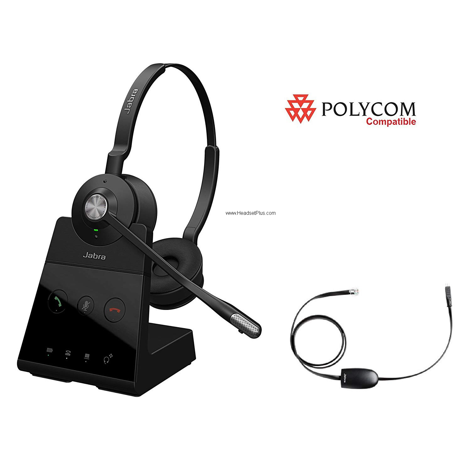 Jabra Engage 65 Stereo+EHS Polycom Phone Wireless Headset Bundle