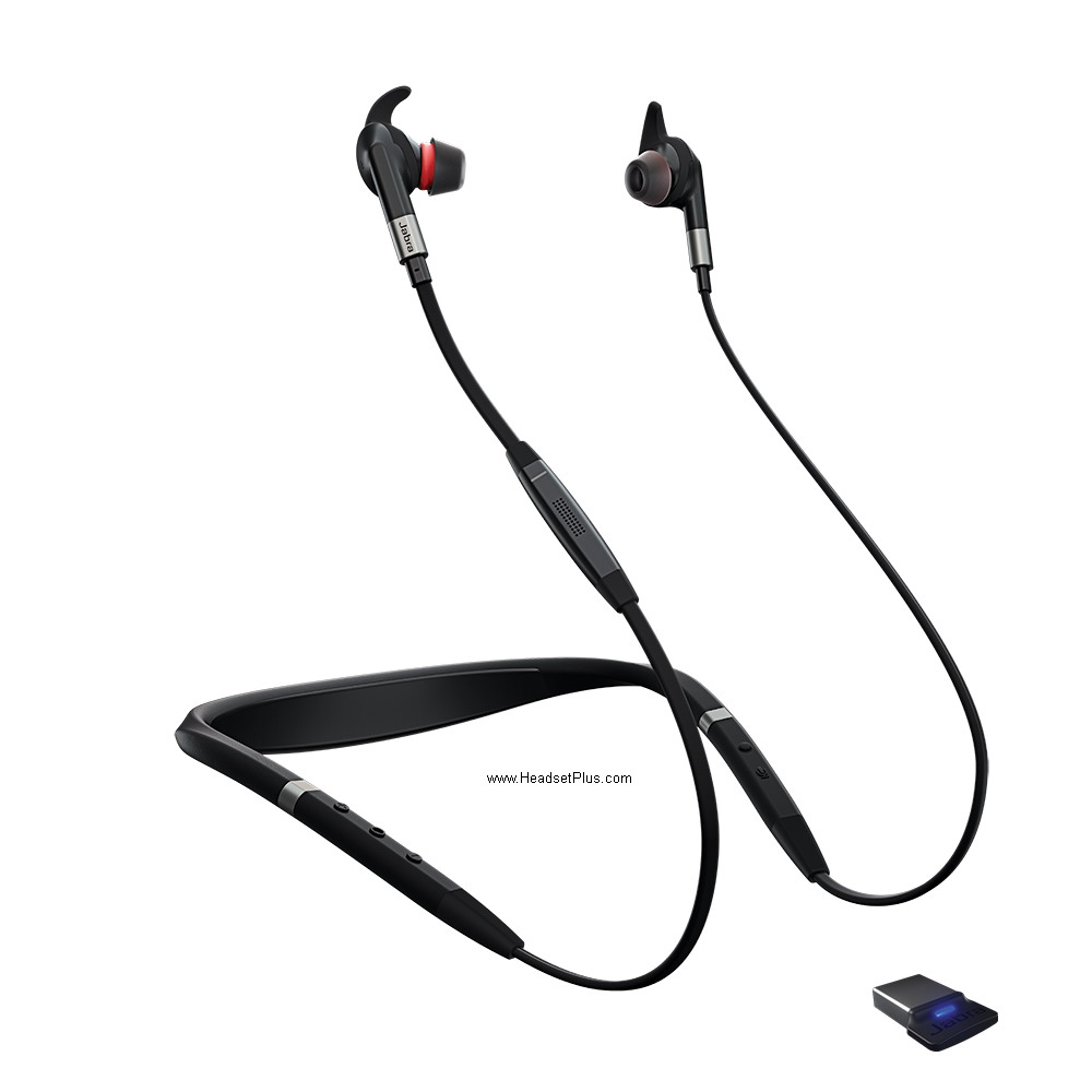 Jabra EVOLVE 75e MS + Link 370 Bluetooth USB Earbuds