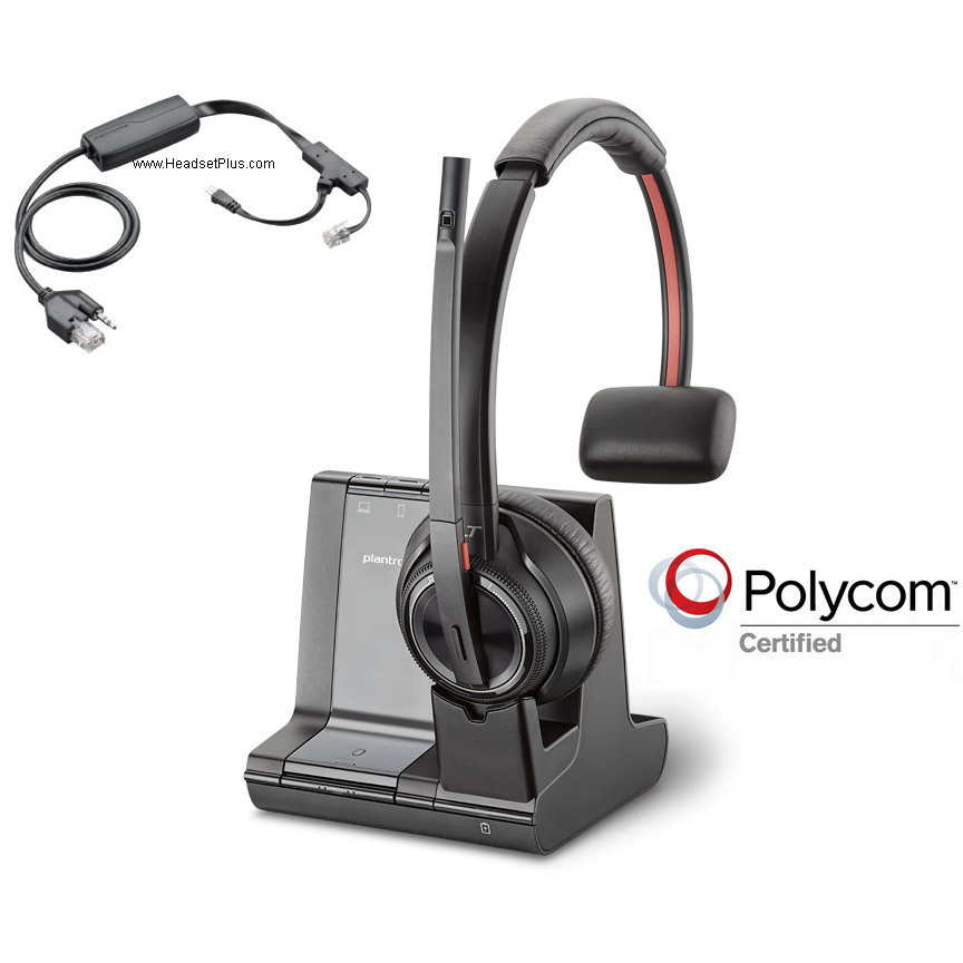 Plantronics Savi 8210+ EHS Mono Wireless Headset Polycom Phone