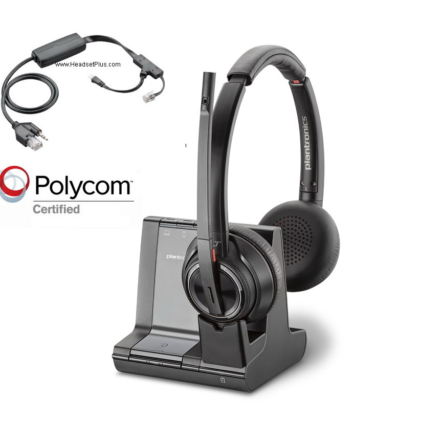 Plantronics Savi 8220+ EHS Wireless Stereo Headset Polycom Phone