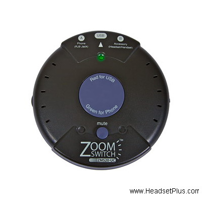 ZoomSwitch ZMS20-UC Headset Computer USB Switch w/volume & mute