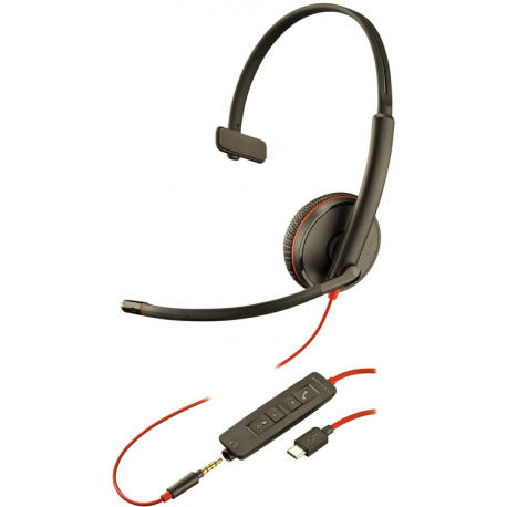 Plantronics Blackwire C3215 USB-C + 3.5mm, MS Skype Cert