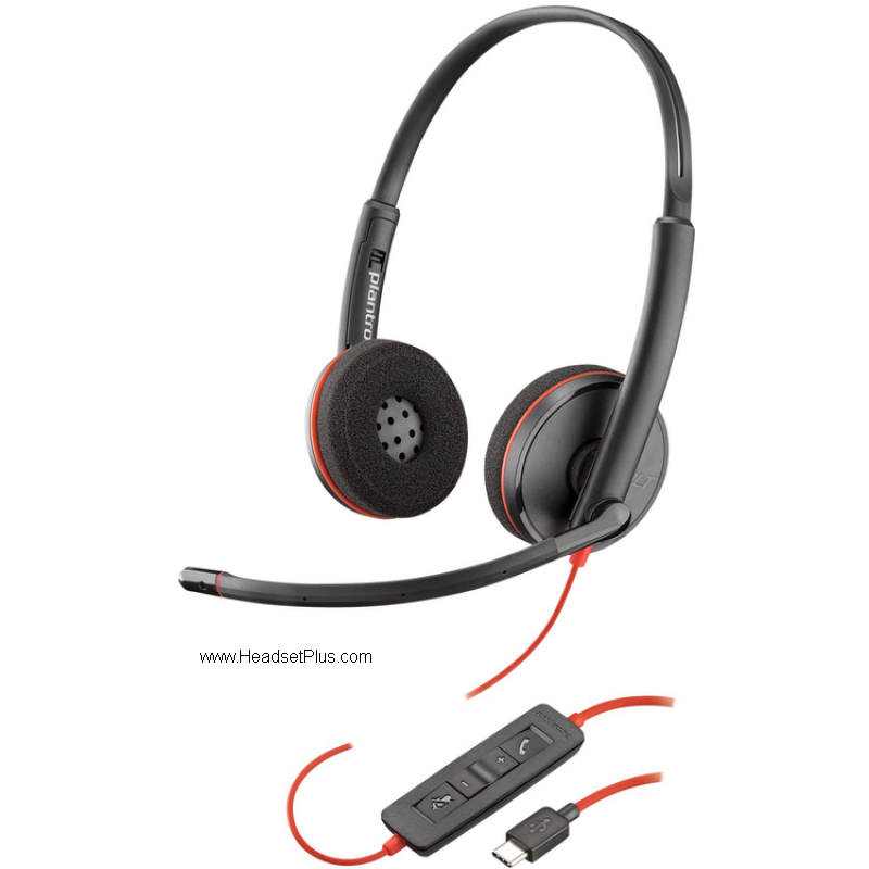 Plantronics 3220 USB-C Blackwire Stereo USB Headset MS Skype
