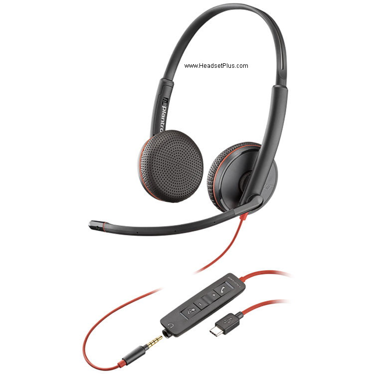 Plantronics C3225 Blackwire Stereo USB-C Headset, 3.5mm MS Skype